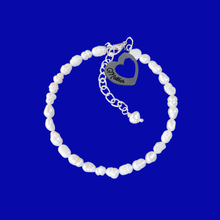 Load image into Gallery viewer, Mother Fresh Water Pearl Charm Bracelet, ivory