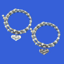 Load image into Gallery viewer, handmade sister of the bride and groom fresh water pearl floral charm bracelets