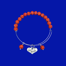 Load image into Gallery viewer, sister of the bride expandable crystal charm bracelet, light siam (red) or custom color