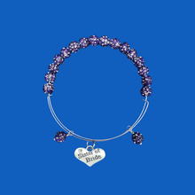 Load image into Gallery viewer, sister of the bride expandable crystal charm bracelet, purple or custom color