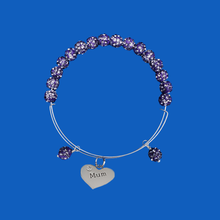 Load image into Gallery viewer, mum crystal expandable charm bracelet, purple or custom color