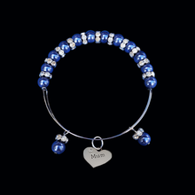 Load image into Gallery viewer, Mum Pearl Crystal Rhinestone Expandable Bracelet, dark blue or custom color
