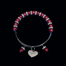 Load image into Gallery viewer, Mum Pearl Crystal Rhinestone Expandable Bracelet, bordeaux red or custom color