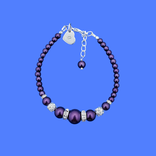 monogram pearl crystal bracelet, dark purple or custom color