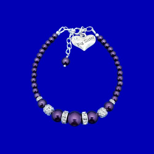Big Sister Gift Ideas - Sister Gift - Big Sister Bracelet, big sister pearl crystal charm bracelet, dark purple or custom color