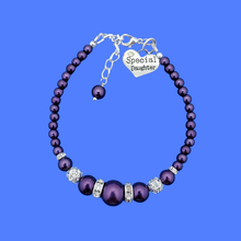 Load image into Gallery viewer, special daughter pearl crystal charm bracelet