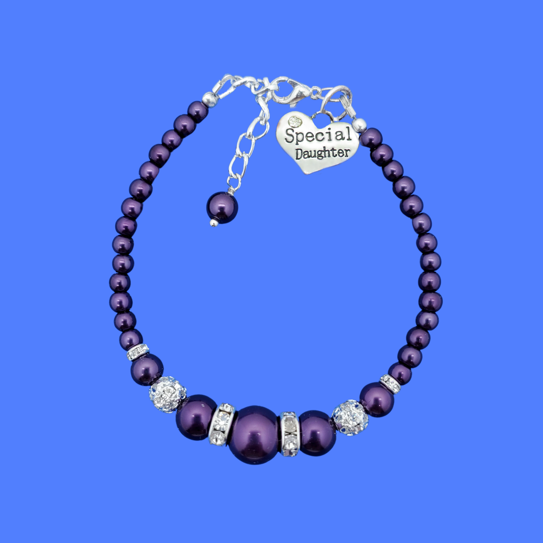 special daughter pearl crystal charm bracelet