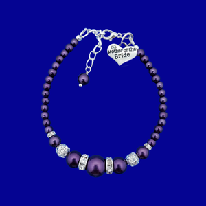Mother of the Bride Pearl Crystal Charm Bracelet, purple or custom color