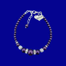 Load image into Gallery viewer, Mommy Pearl Crystal Charm Bracelet, dark purple or custom color