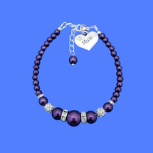 Load image into Gallery viewer, Mum Pearl Crystal Charm Bracelet