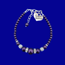 Load image into Gallery viewer, handmade grand mother pearl and crystal charm bracelet