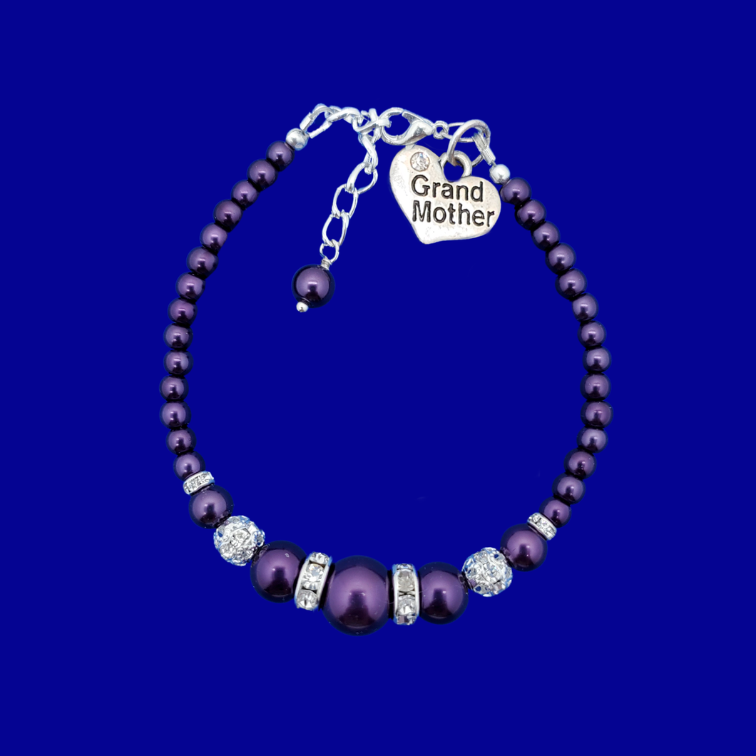 handmade grand mother pearl and crystal charm bracelet