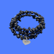 Load image into Gallery viewer, mum black onyx expandable multi layer wrap charm bracelet