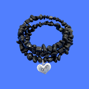 Gran Black Onyx Expandable Multi Layer Wrap Charm Bracelet
