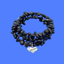 Load image into Gallery viewer, handmade Mommy Black Onyx Expandable Multi Layer Wrap Charm Bracelet