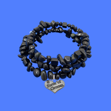 Load image into Gallery viewer, Sister of the Groom Black Onyx Expandable Multi Layer Wrap Charm Bracelet