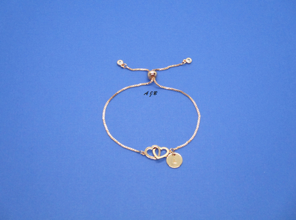 Monogram Double Heart Rose Gold 18K bracelet