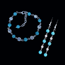 Load image into Gallery viewer, Bracelet Sets - Bridesmaid Jewelry - Bridal Gift Ideas - handmade 18k and pave crystal rhinestone bracelet combined with a pair of drop earrings, aquamarine blue or custom color
