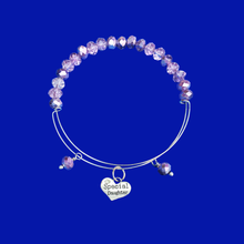 Load image into Gallery viewer, Daughter Crystal Expandable Charm Bracelet, purple or custom color