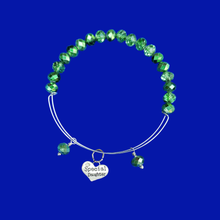 Load image into Gallery viewer, Daughter Crystal Expandable Charm Bracelet, green or custom color