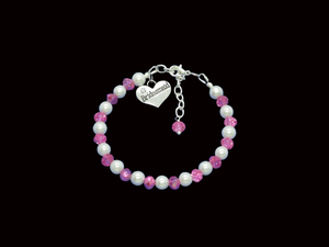 Bridesmaid Gift - Bridesmaid Jewelry, bridesmaid handmade pearl and crystal charm bracelet, white and pink or custom color