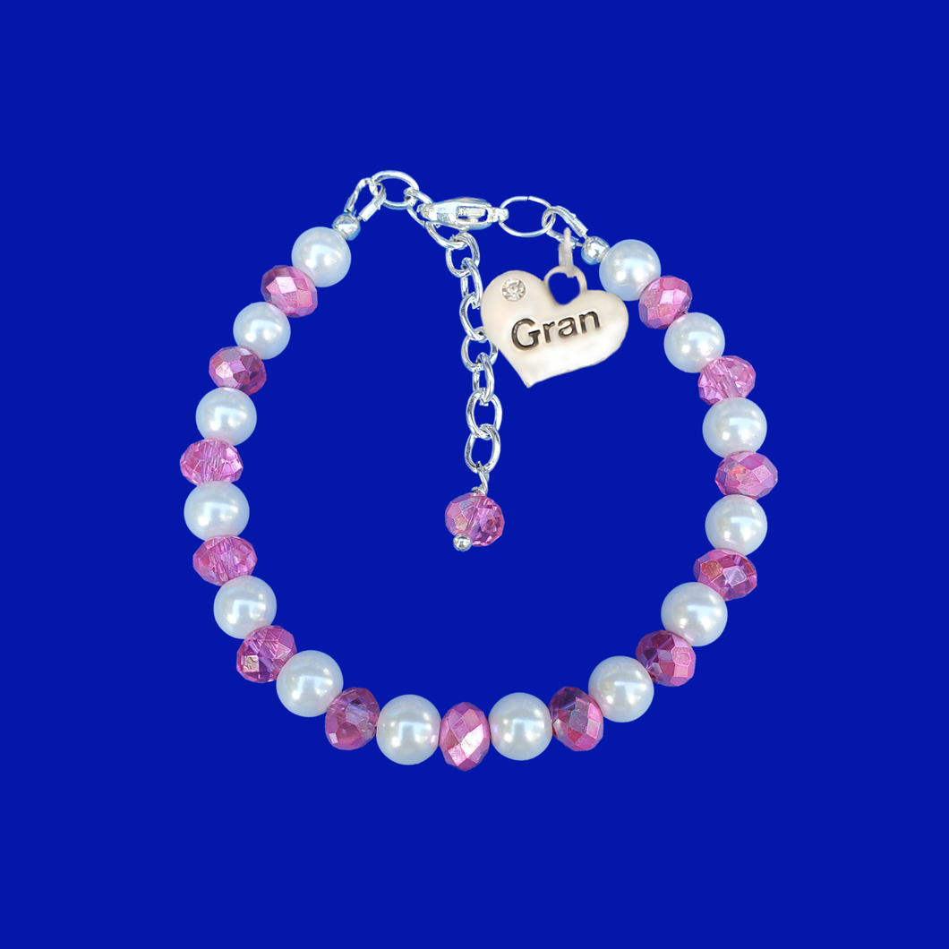 gran pearl and crystal charm bracelet
