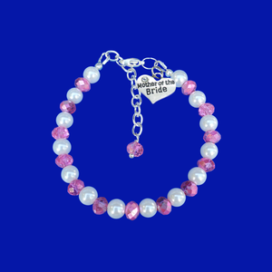 mother of the bride pearl crystal charm bracelet, white and pink or custom color