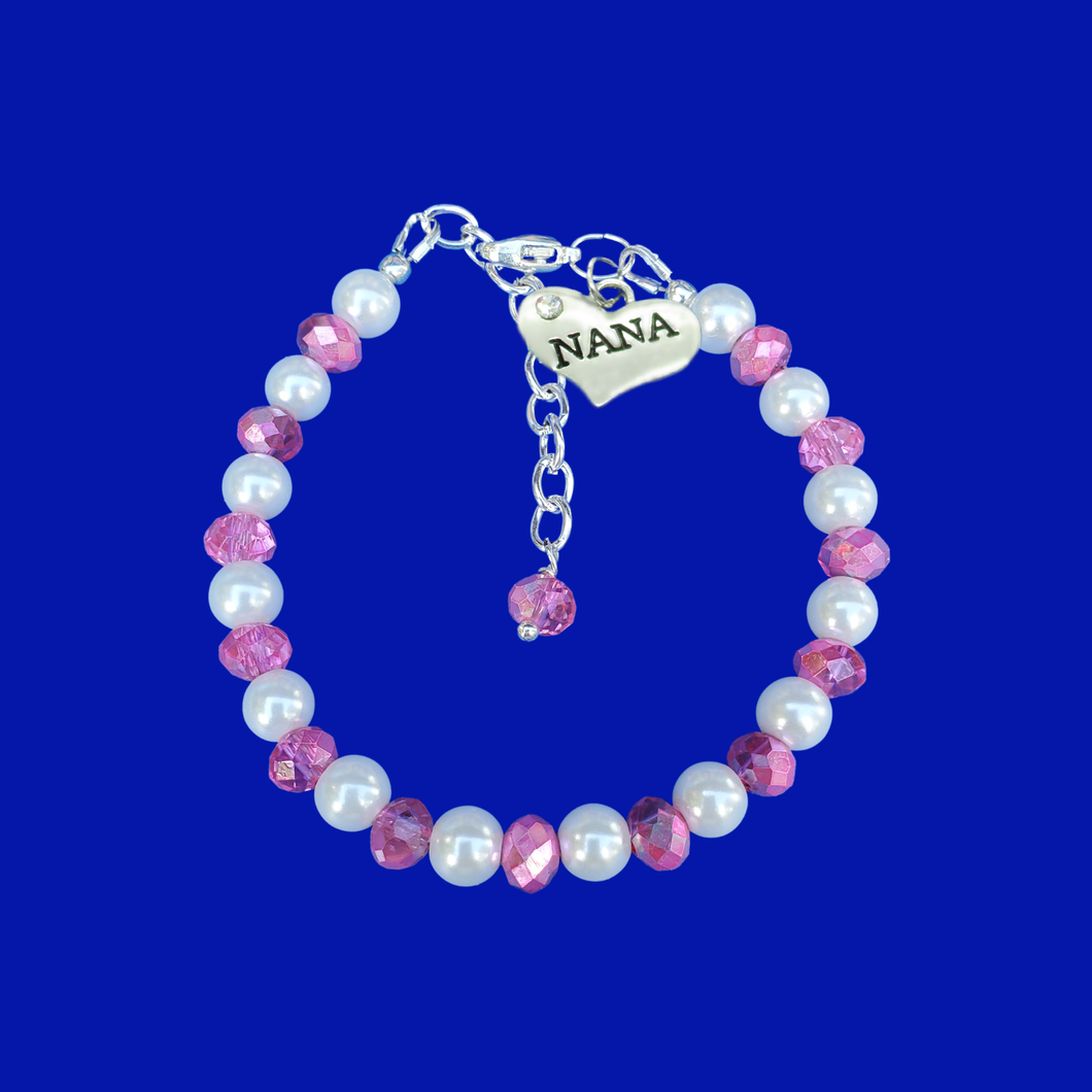 nana pearl crystal charm bracelet, white and pink or custom color