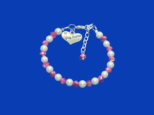 Sister Gift - Big Sister Gift - Big Sister Bracelet, big sister handmade pearl and crystal charm bracelet, white and pink or custom color