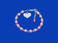 Load image into Gallery viewer, best friend handmade pearl and crystal charm bracelet