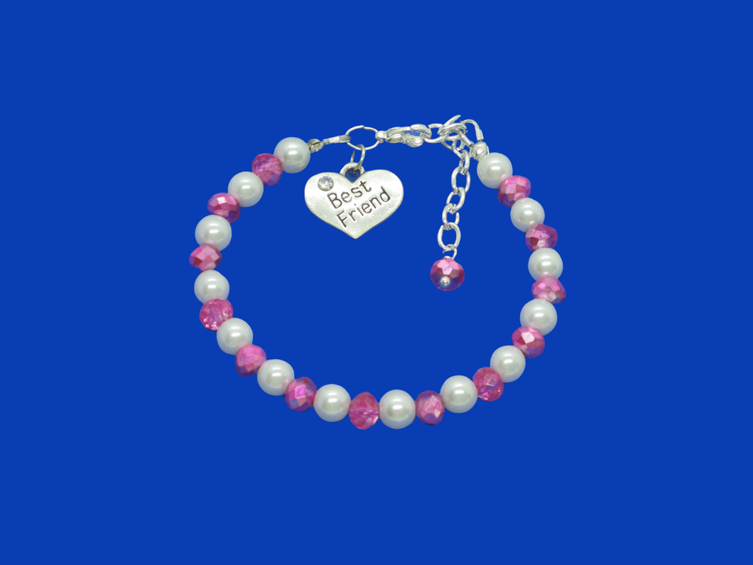best friend handmade pearl and crystal charm bracelet