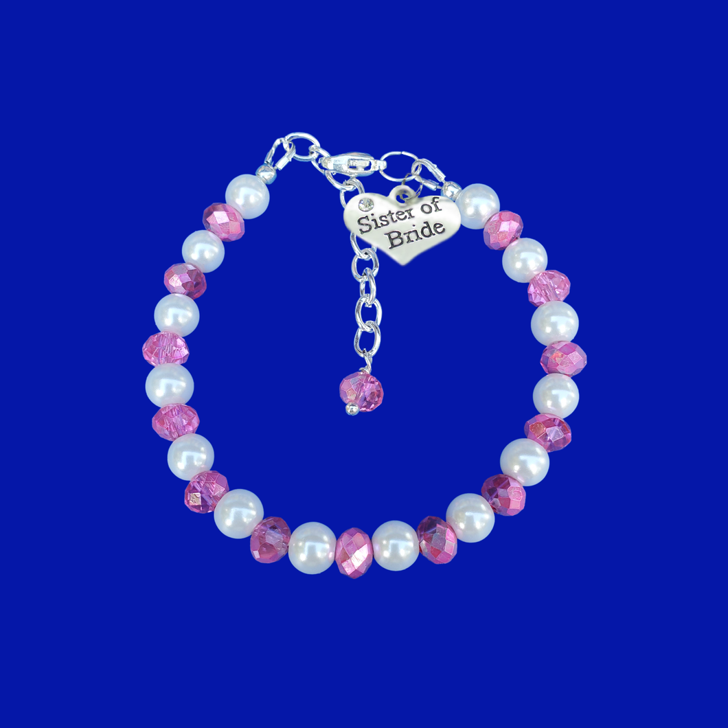 pearl crystal sister of the bride charm bracelet, white and pink or custom color