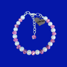 Load image into Gallery viewer, little sister handmade pearl and crystal charm bracelet