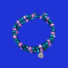Load image into Gallery viewer, monogram expandable multi layer wrap crystal bracelet, custom colors
