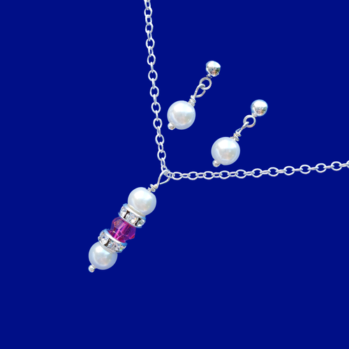 swarovski crystal pearl drop necklace pearl stud earring jewelry set, pink and white or custom color
