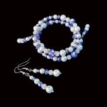 Load image into Gallery viewer, Bride Present Ideas - Bracelet Sets - Pearl Set  - handmade pearl and crystal expandable, multi-layer, wrap bracelet accompanied by a pair of drop earrings, white and blue or custom color