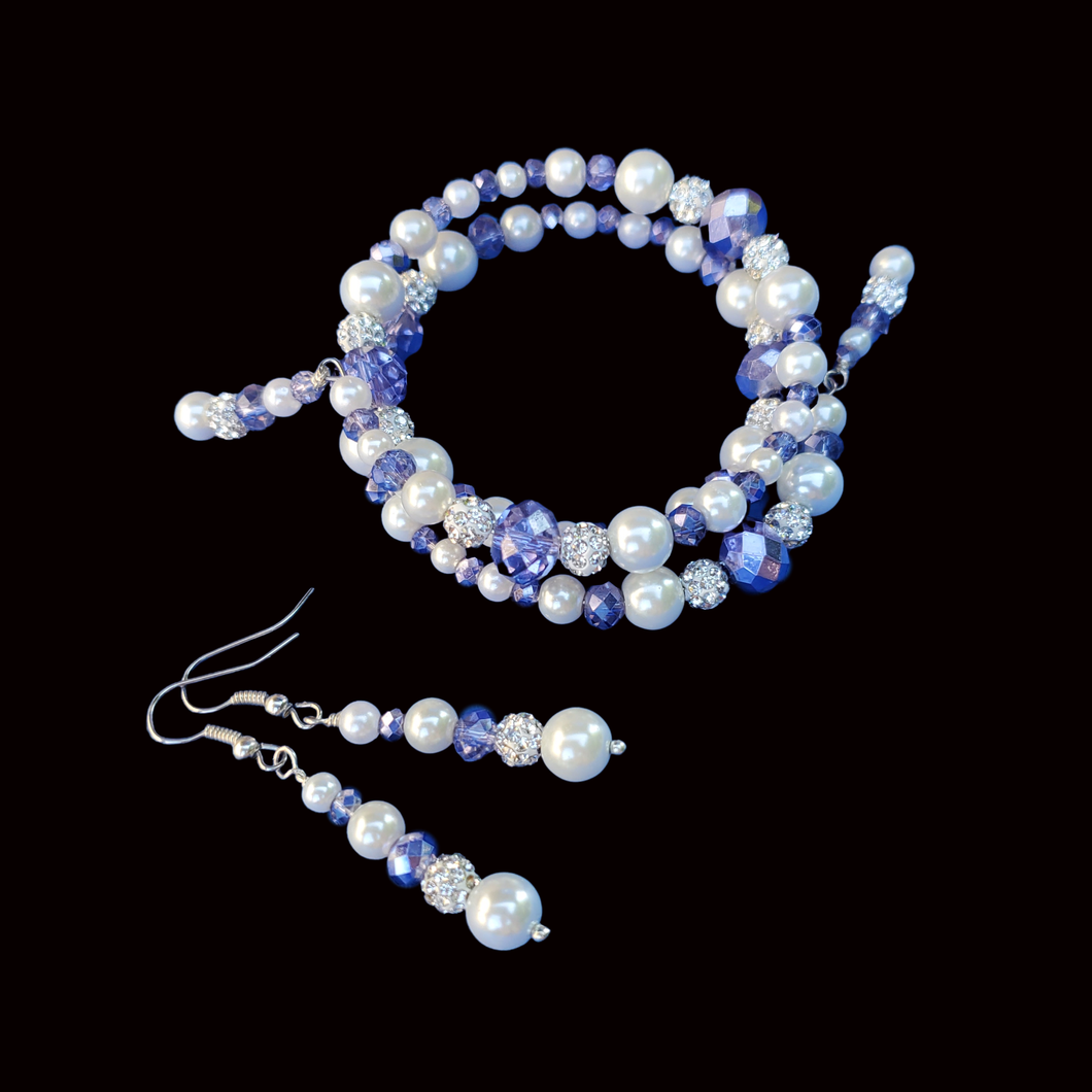 Bride Present Ideas - Bracelet Sets - Pearl Set  - handmade pearl and crystal expandable, multi-layer, wrap bracelet accompanied by a pair of drop earrings, white and blue or custom color