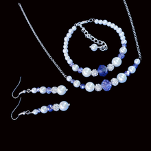 Load image into Gallery viewer, handmade pearl and crystal bar necklace accompanied by a bracelet and a pair of drop earrings