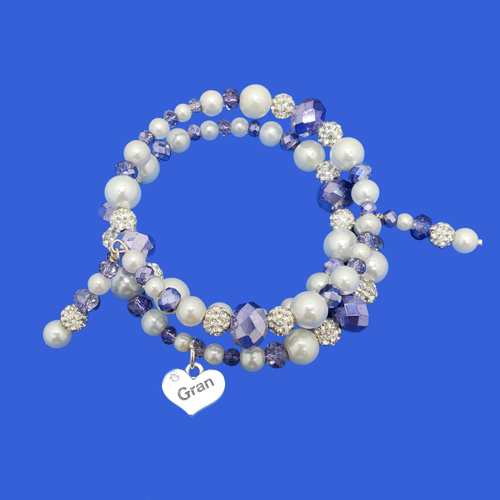 Gift ideas For Gran - Gran Birthday Gifts - Gran Present - gran pearl crystal expandable multi layer wrap charm bracelet, white and blue or custom color