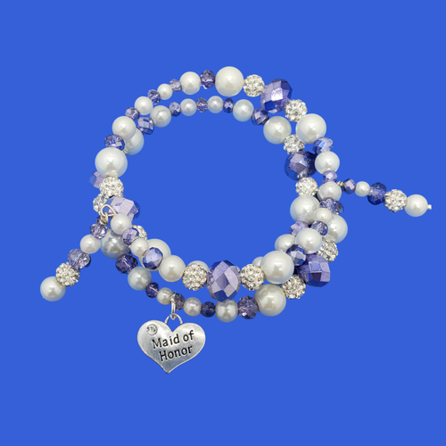 handmade maid of honor pearl and crystal expandable, multi-layer, wrap charm bracelet
