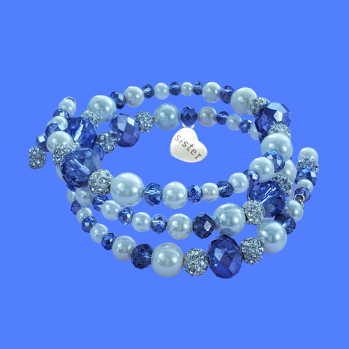 sister pearl crystal expandable multi layer wrap charm bracelet, white and blue or custom color