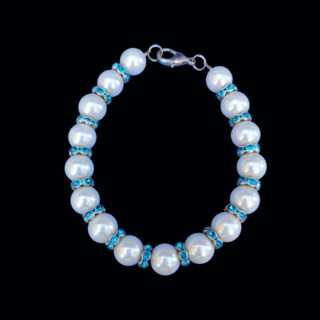 pearl crystal bracelet, white and blue or custom color