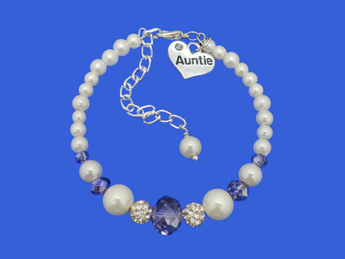 Auntie Jewelry - Auntie Gift Ideas - Auntie Gift, handmade auntie pearl crystal charm bracelet, white and blue or custom color