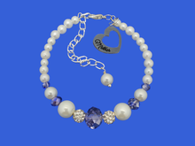 Load image into Gallery viewer, mother pearl crystal charm bracelet, white and blue or custom color