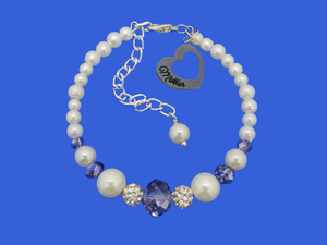 mother pearl crystal charm bracelet, white and blue or custom color