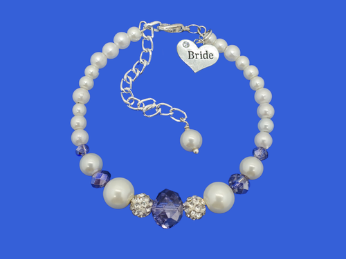 Bride Gift - Bride Jewelry - Bride Present, handmade bride pearl crystal charm bracelet, white and blue or custom color