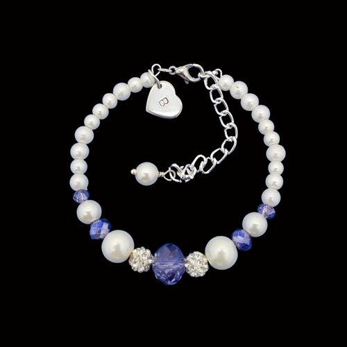 monogram pearl crystal charm bracelet, white and blue or custom color
