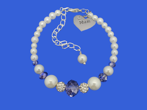 mum pearl crystal charm, white and blue or custom color