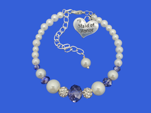 Load image into Gallery viewer, maid of honor pearl crystal charm bracelet, white blue
