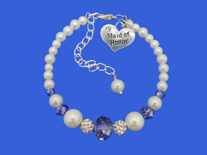 maid of honor pearl crystal charm bracelet, white blue